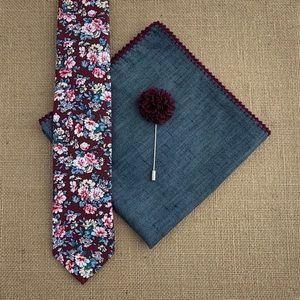 ⚜️HP⚜️ Men's Burgundy Floral Necktie Accessory Set